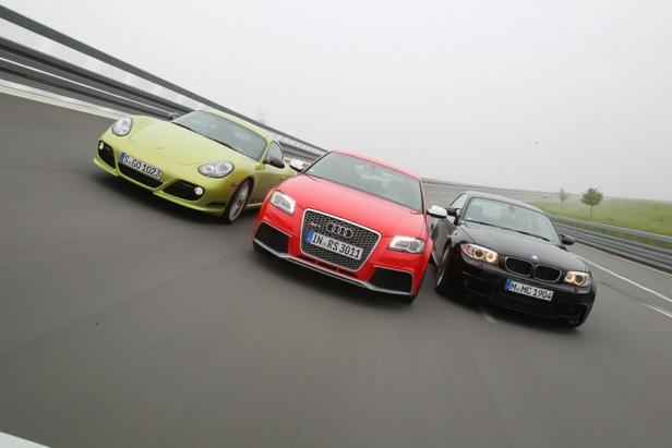 Audi-RS3-Sportback-Porsche-Cayman-R-BMW-1M-Coupe