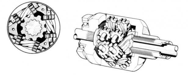 Przekrój klasycznego mechanizmu Torsen