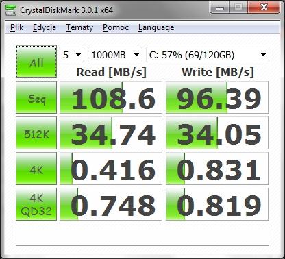 CrystalDiskMark - Samsung HM640JJ (fot. tlatocetl)