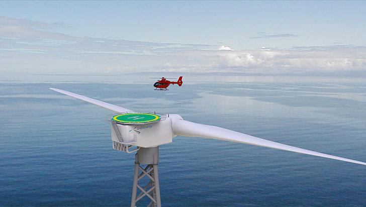 В Шотландии установят ветряк с вертолетной площадкой. Самый большой трехме