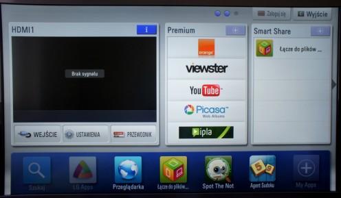 LG LW570S menu główne