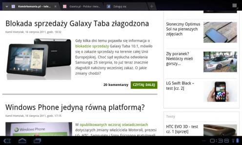 LG Swift Tab - przeglądarka | wł.