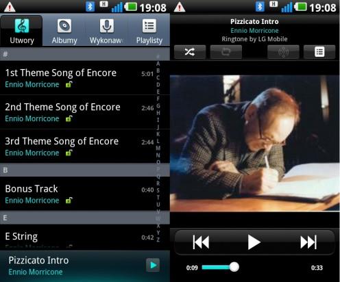 LG Swift UI - odtwarzacz audio