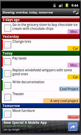 Interfejs aplikacji Todoist