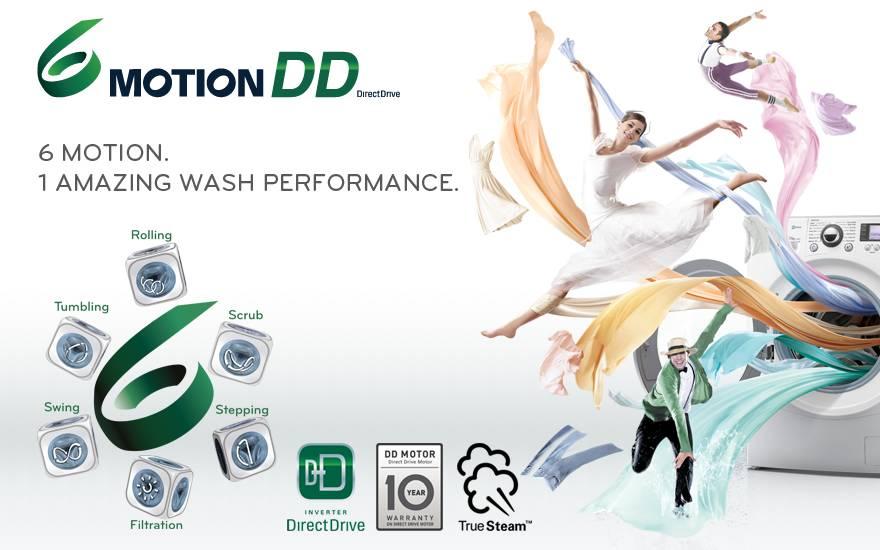 Dzięki 6 Motion pranie przebiega woptymalnych warunkach