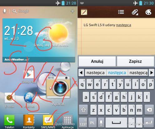 LG Swift L5 - QuickMemo iklawiatura
